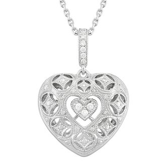 Neil Lane Designs Silver 0.11ct Diamond Heart Pendant - Product number 5112966