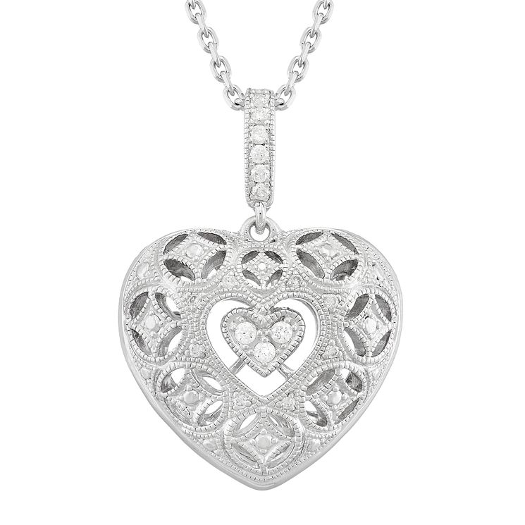 Neil Lane Designs Silver 0.11ct Diamond Puffed Heart Pendant - Product number 5112966