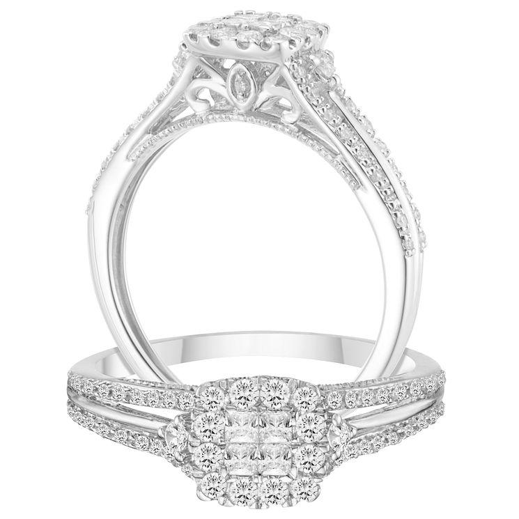 9ct White Gold 2 5ct Diamond Princessa Ring