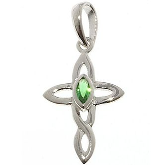 Cailin Sterling Silver Green Cubic Zirconia Cross Pendant - Product number 5119987