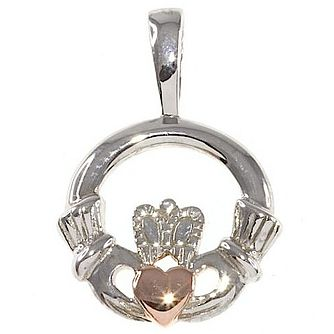 Cailin Sterling Silver & Rose Gold-Plated Claddagh Pendant - Product number 5120039