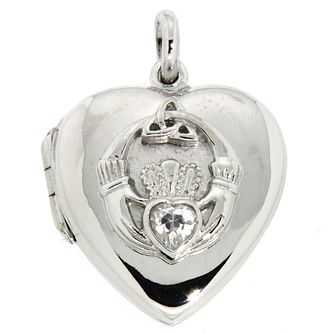 Cailin Sterling Silver Cubic Zirconia Claddagh Heart Locket - Product number 5120071