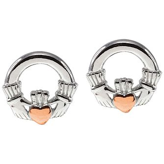 Cailin Silver & Rose Gold-Plated Claddagh Stud Earrings - Product number 5120101