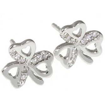 Cailin Sterling Silver Cubic Zirconia Clover Stud Earrings - Product number 5120128