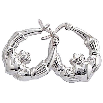 Cailin Sterling Silver Claddagh Creole Earrings - Product number 5120187