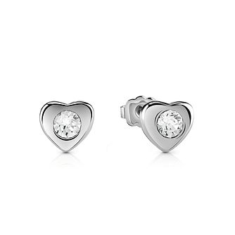 Guess Rhodium-Plated Stone Set Little Heart Stud Earrings - Product number 5120632