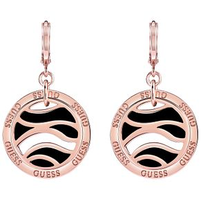 Guess Rose Gold-Plated Open Coin Drop Earrings - Product number 5120764
