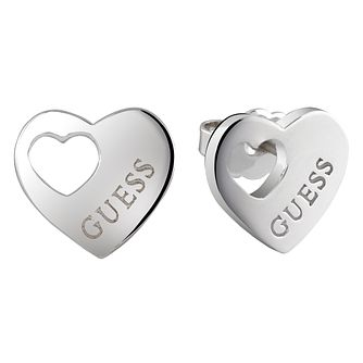 Guess Rhodium-Plated Heart Cut Out Stud Earrings - Product number 5120772
