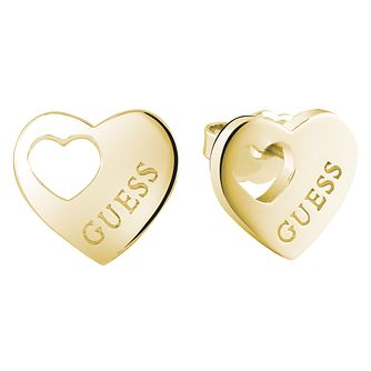 Guess Gold-Plated Heart Cut Out Stud Earrings - Product number 5120780