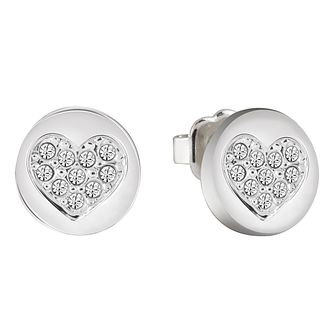 Guess Rhodium-Plated Sparkle Heart Stud Earrings - Product number 5120802