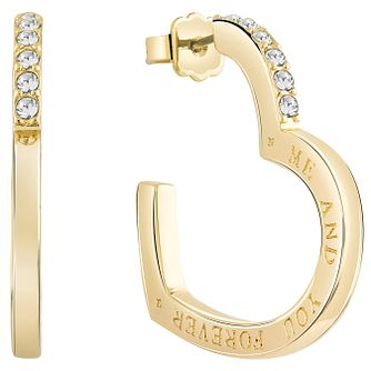 Guess Gold-Plated Stone Set Heart Frame Hoop Earrings - Product number 5120845