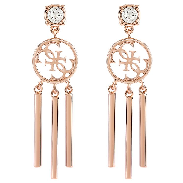 Guess Quattro G Rose Gold-Plated Tasselled Drop Earrings - Product number 5120926