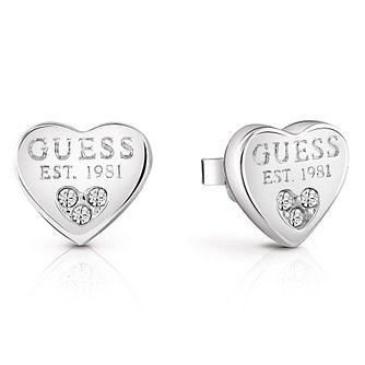 Guess Rhodium-Plated Crystal Set  Heart Stud Earrings - Product number 5120950