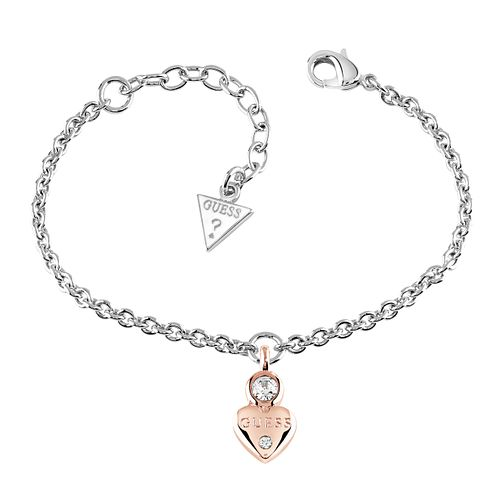 Guess Rose Gold & Silver Plated Little Heart Charm Bracelet - Product number 5121051