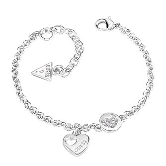 Guess Silver Plated Rhodium Little Heart Coin Bracelet - Product number 5121124