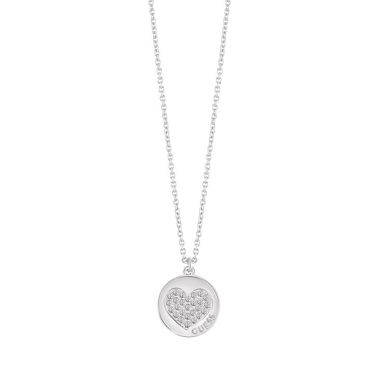 "Guess Rhodium-Plated Sparkle Heart Coin Pendant 16-18"" - Product number 5121302"