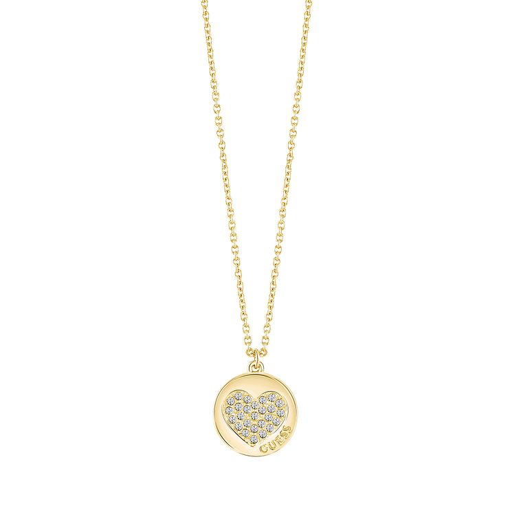 Guess Gold Plated Little Sparkle Heart Pendant Necklace - Product number 5121310