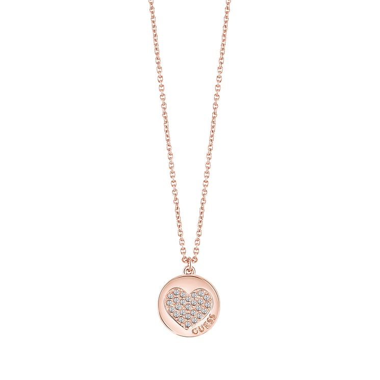 Guess Rose Gold Plated Little Sparkle Heart Pendant Necklace - Product number 5121329