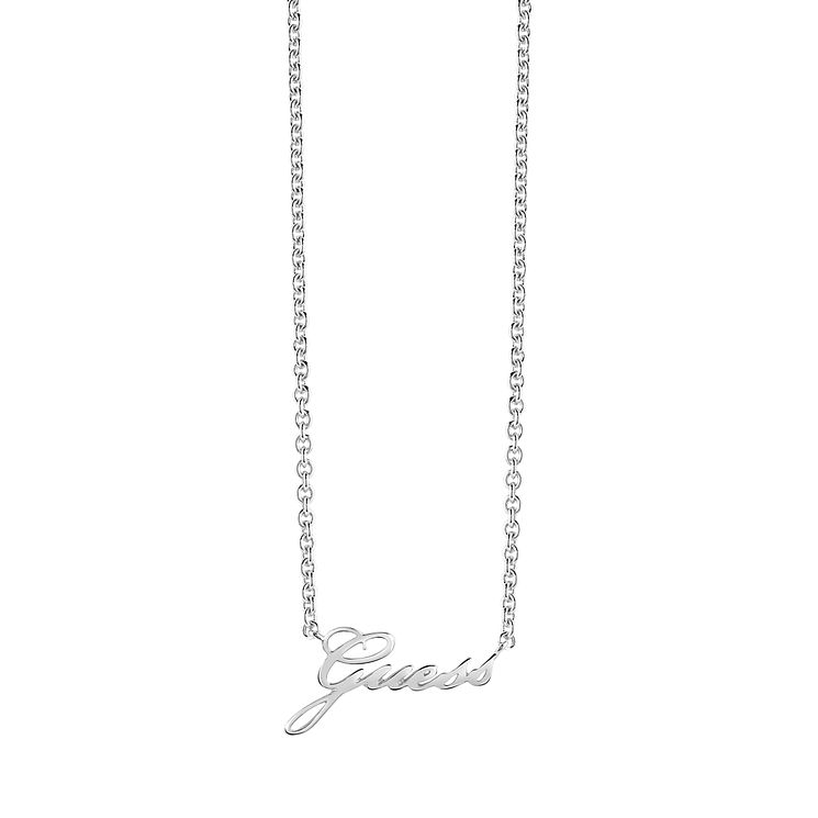 "Guess Rhodium-Plated Logo Necklace 16-18"" - Product number 5121337"