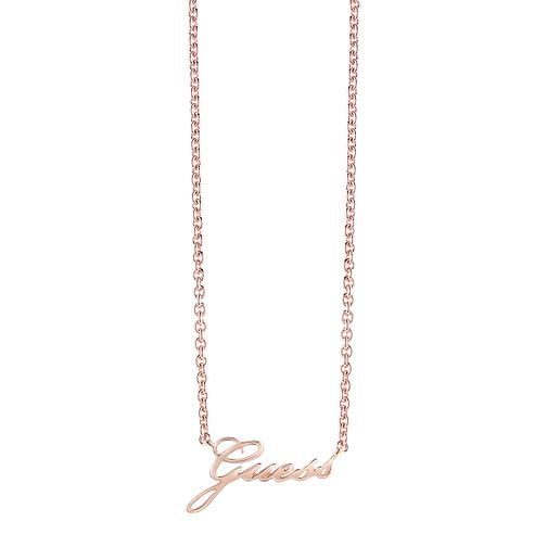 "Guess Rose Gold-Plated Logo Necklace 16-18"" - Product number 5121345"