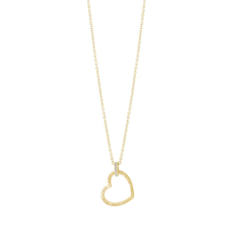 Guess Gold Plated Heart Frame Pendant Necklace - Product number 5121361