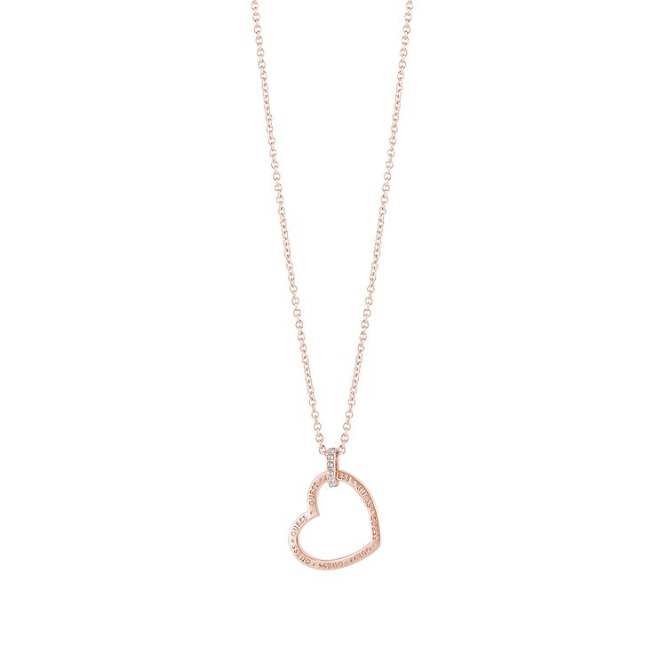 "Guess Rose Gold-Plated Stone Set Heart Frame Pendant 16-18"" - Product number 5121388"