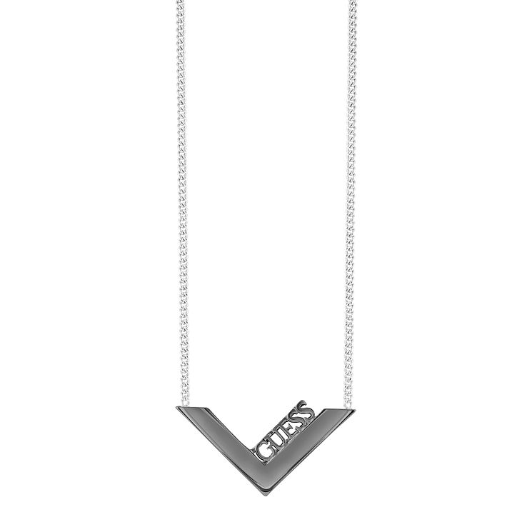 "Guess Rhodium-Plated Gunmetal V-Shaped Necklace 16-18"" - Product number 5121485"