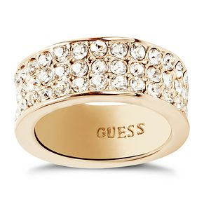 Guess Gold-Plated 3 Row Pave Stone Set Ring Size 52 - Product number 5121531