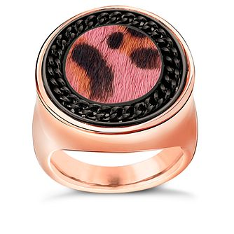 Guess Rose Gold-Plated Leopard Print Coin Ring - Product number 5121582