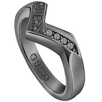 Guess Rhodium-Plated Gunmetal V-Shaped Ring - Product number 5121612