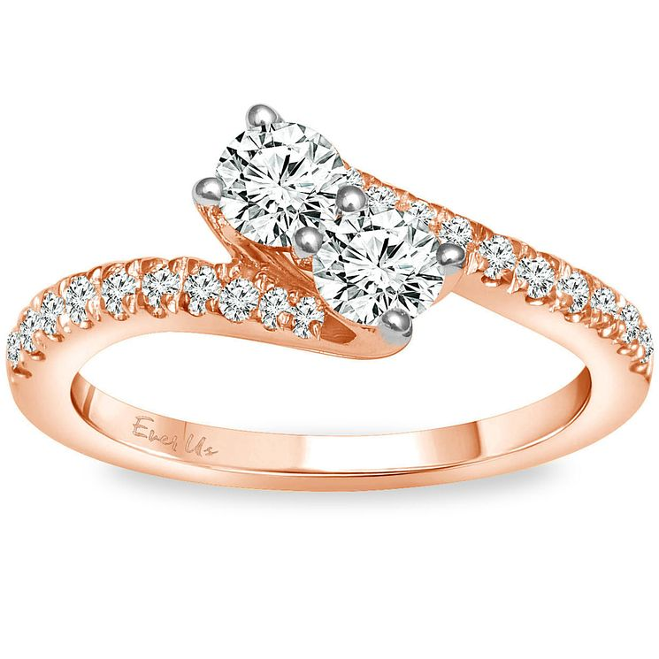 Ever Us 14ct Rose Gold 3/4 Carat Diamond 2 Stone Ring - Product number 5124050