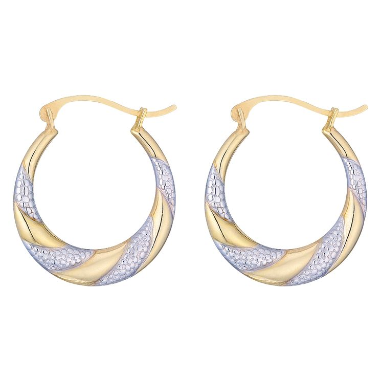 Together Silver & 9ct Bonded Gold Two-Colour Hoop Earrings - Product number 5127823