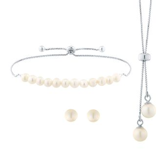 Silver Rhodium-Plated Cultured Freshwater Pearl Necklace - Product number 5127866