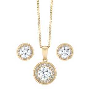Gold-Plated Silver Cubic Zirconia Pendant & Stud Earrings - Product number 5127912