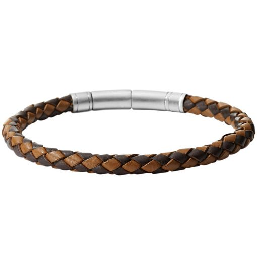 Fossil Woven Brown Leather Bracelet - Product number 5129400