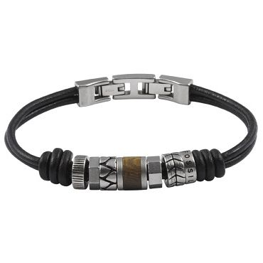Fossil Stainless Steel Brown Leather Bracelet - Product number 5129427