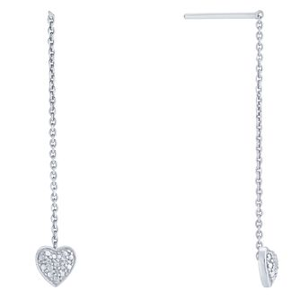 Sterling Silver Diamond Heart Thread Through Drop Earrings - Product number 5130026