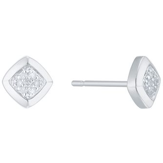 Sterling Silver Diamond Set Stud Earrings - Product number 5130328