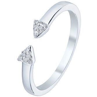 Sterling Silver Diamond Set Arrow Open Ring - Product number 5136148