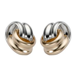9ct White And Yellow Gold Open Knot Stud Earrings - Product number 5137985
