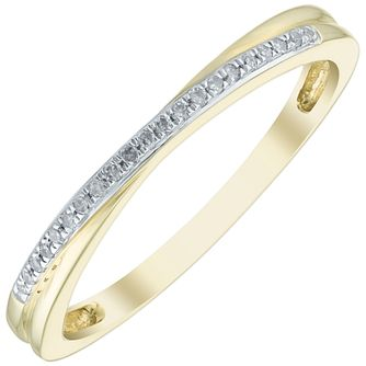 9ct Gold Diamond Set Stacker Ring - Product number 5139384