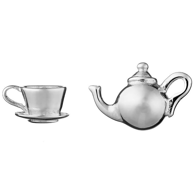 Lily Charmed Silver Tea Time Stud Earrings - Product number 5156351