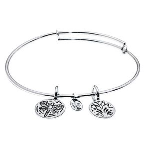 Chrysalis Rhodium Plated World Tree Bangle - Product number 5156386
