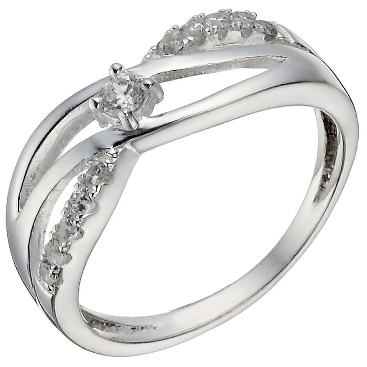 Sterling Silver Cubic Zirconia Crossover Ring Size K - Product number 5158281