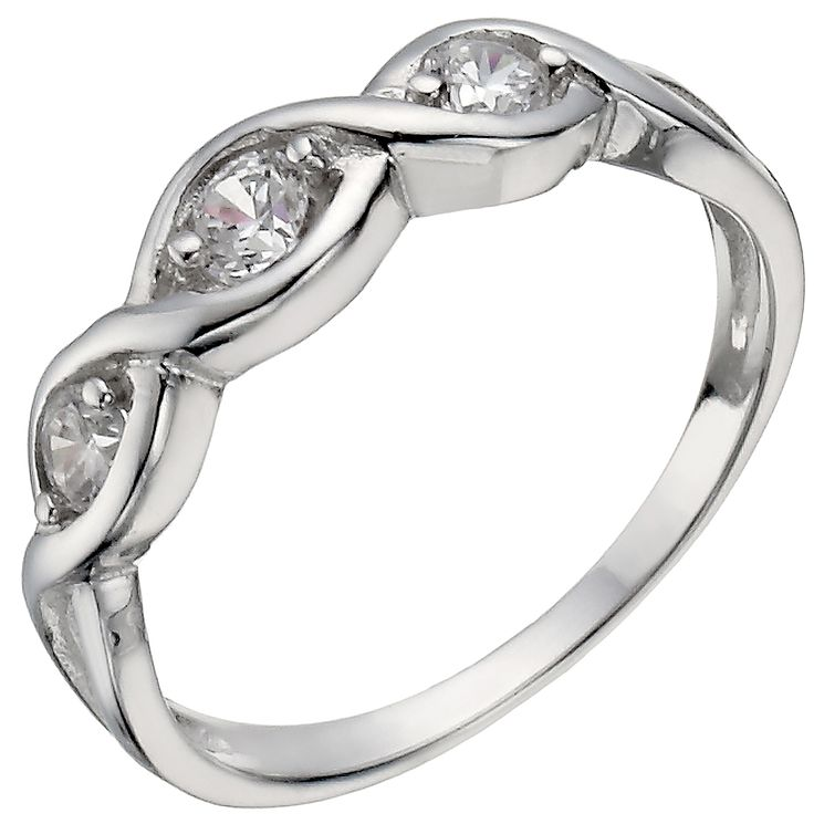 Sterling Silver 3 Stone Cubic Zirconia Crossover Ring Size K - Product number 5158303