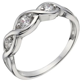 Sterling Silver 3 Stone Cubic Zirconia Crossover Ring Size O - Product number 5158338