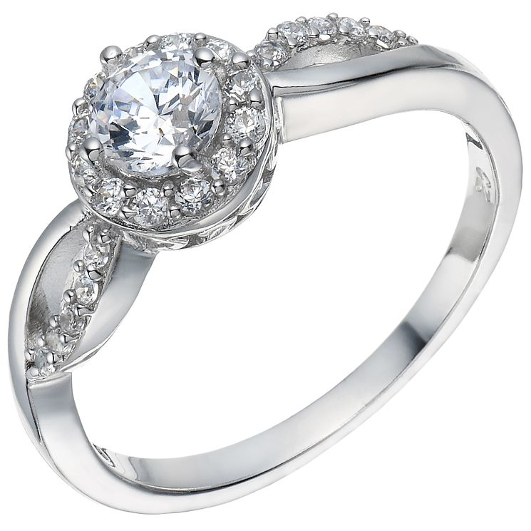 Sterling Silver Cubic Zirconia Solitaire Halo Ring Size O - Product number 5158397