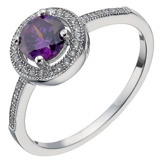 Sterling Silver Purple Cubic Zirconia Halo Ring Size K - Product number 5158435
