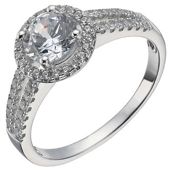 Sterling Silver Cubic Zirconia Halo Ring Size M - Product number 5158443