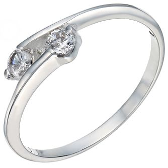 Sterling Silver Cubic Zirconia 2 Stone Ring Size K - Product number 5158974